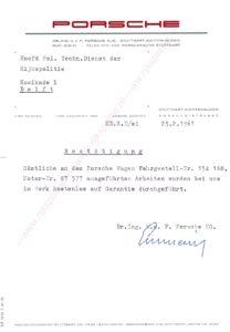 Algemene Verkeersdienst, Rijkspolitie, brief Porsche fabriek aan politie technische dienst.