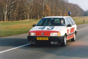 Algemene Verkeersdienst, Rijkspolitie, Groep Surveillance Autosnelwegen (SAS), Alex 1443, VW Passat, YV-20-KY, Jan Benou, Huub Hemelt.