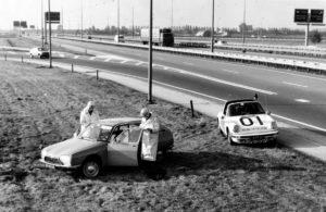 Algemene Verkeersdienst, Rijkspolitie, Porsche 911 targa, 14-FT-30, Alex 1201, Sportomatic, klaverblad Oudenrijn.